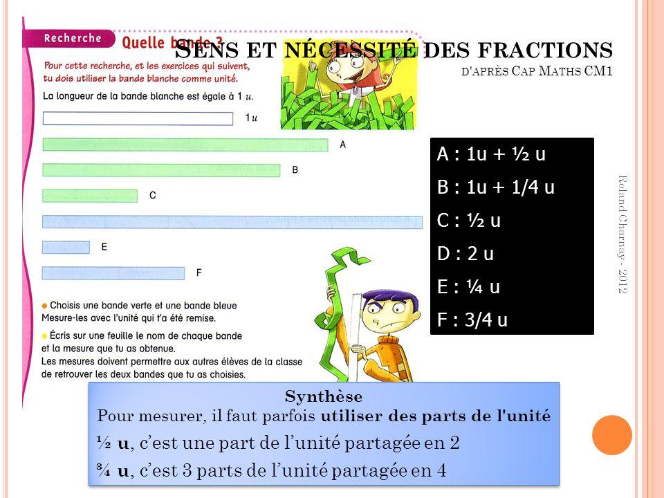 Sens et nécessité des fractions d après Cap Maths CM1
