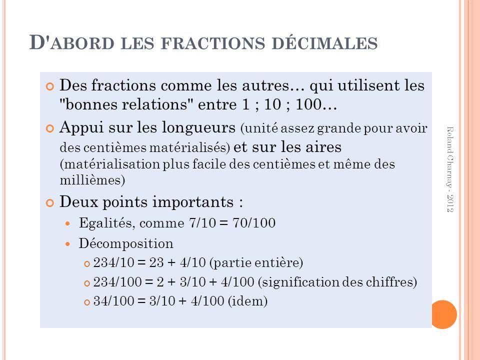 D abord les fractions décimales