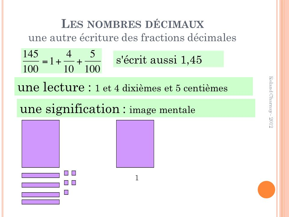 Les nombres décimaux une autre écriture des fractions décimales