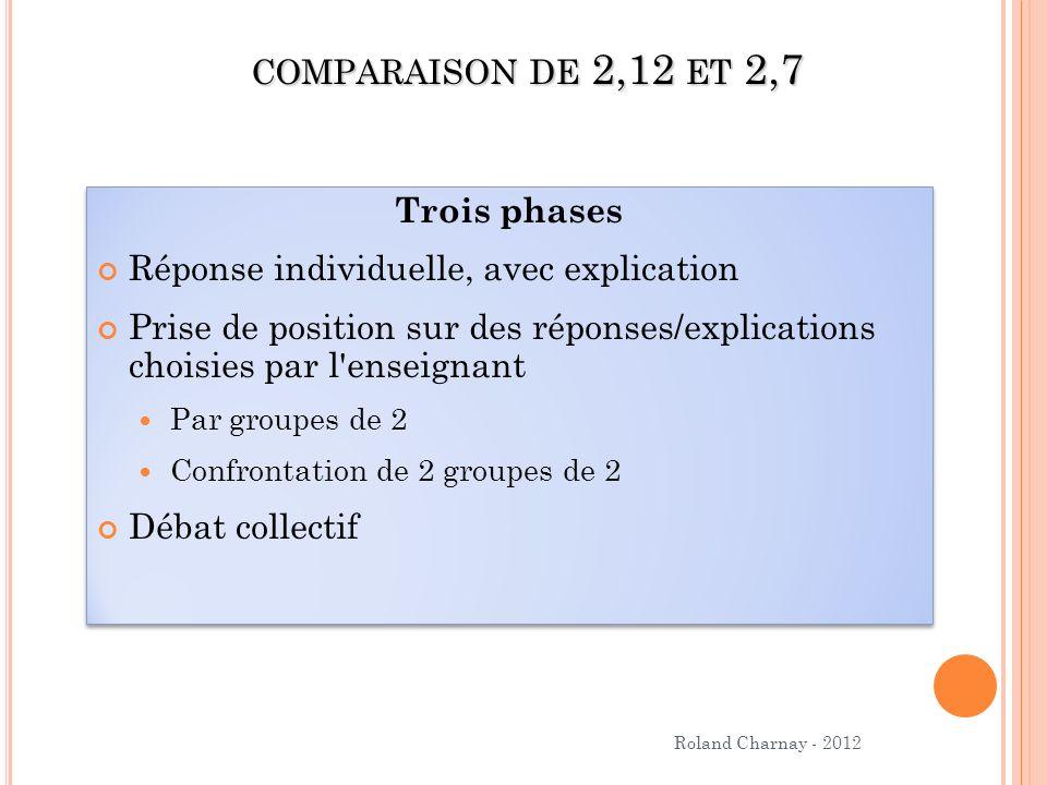 comparaison de 2,12 et 2,7 Trois phases