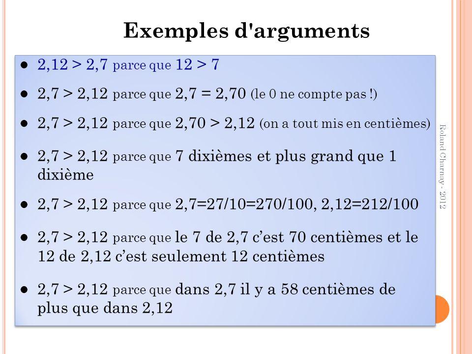 Exemples d arguments 2,12 > 2,7 parce que 12 > 7