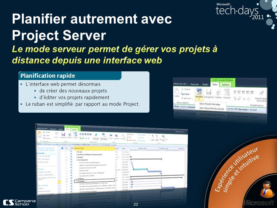 Planifier autrement avec Project Server Le mode serveur permet de gérer vos projets à distance depuis une interface web