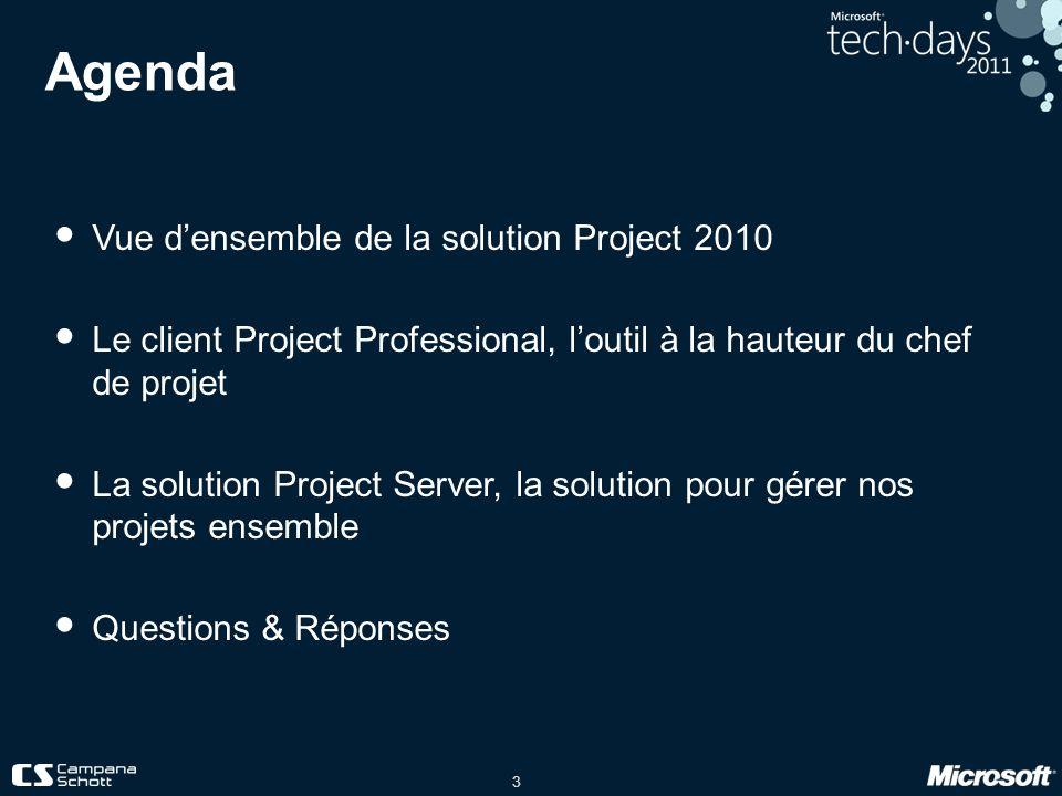Agenda Vue d'ensemble de la solution Project 2010