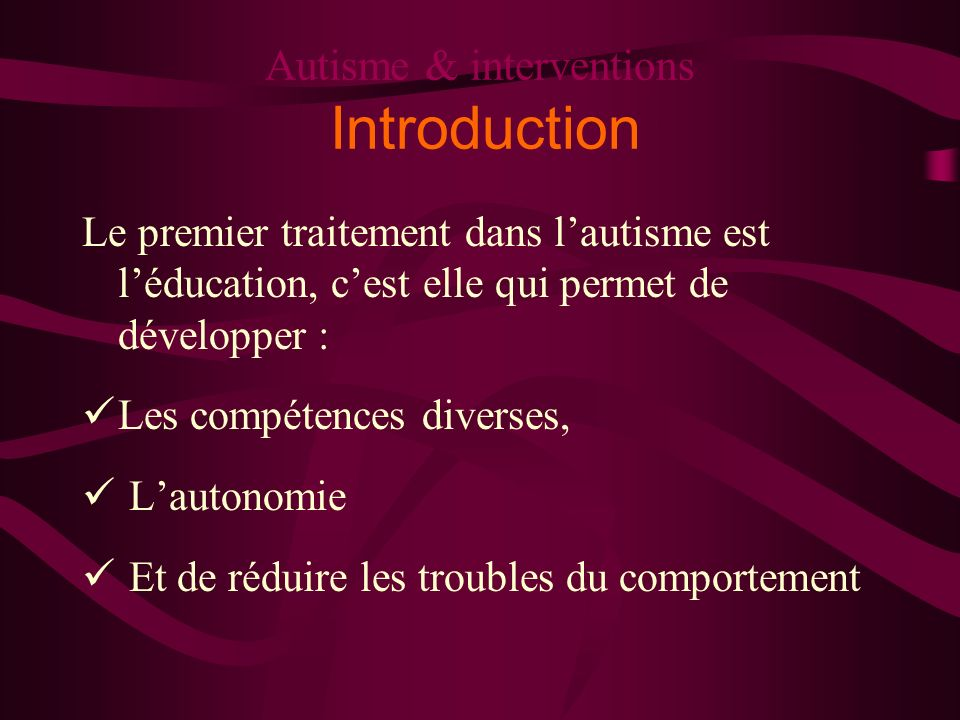 Autisme & interventions Introduction