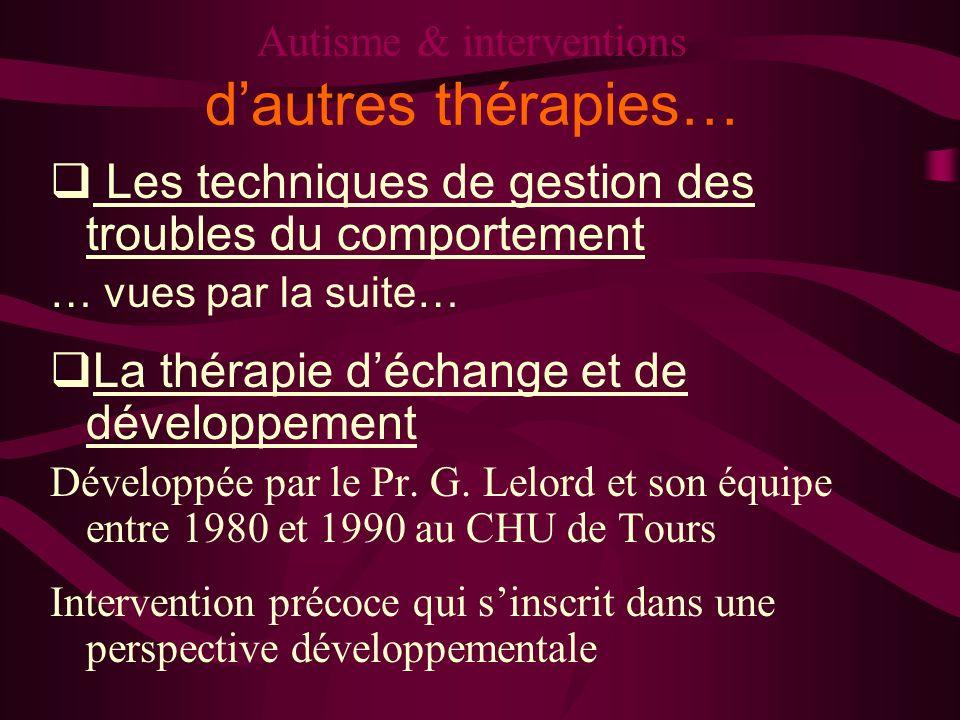Autisme & interventions d'autres thérapies…