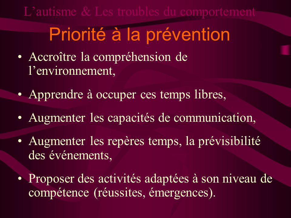 L'autisme & Les troubles du comportement Priorité à la prévention
