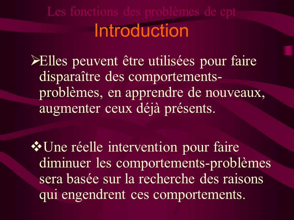 Les fonctions des problèmes de cpt Introduction