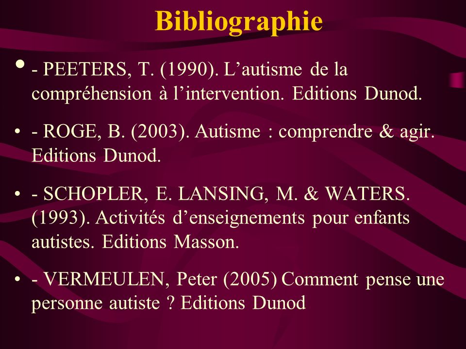 Bibliographie - PEETERS, T. (1990). L'autisme de la compréhension à l'intervention. Editions Dunod.