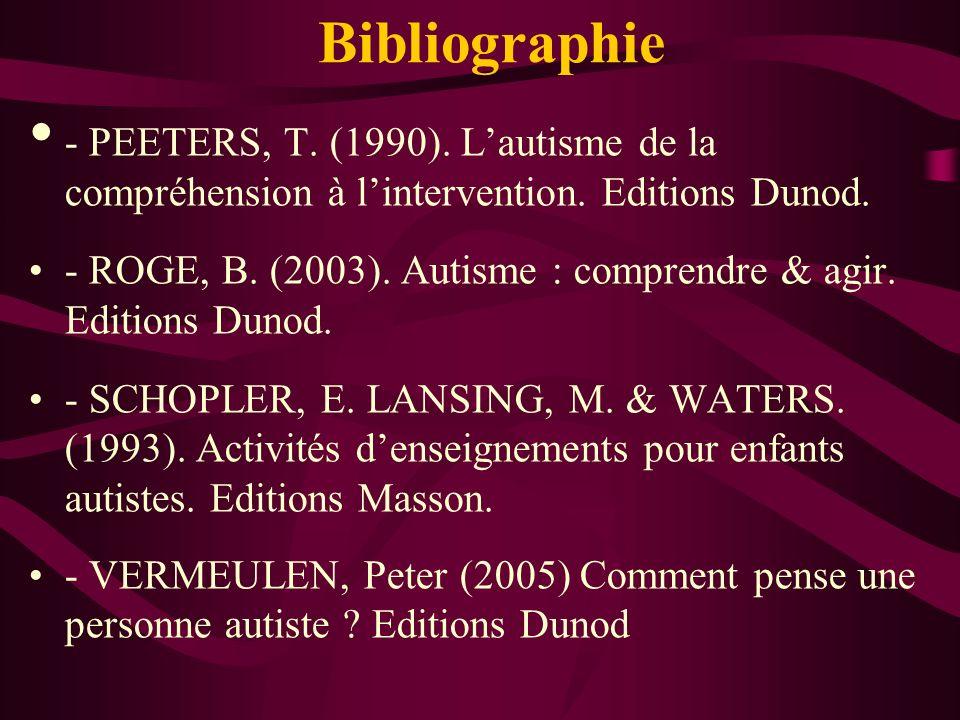 Bibliographie- PEETERS, T. (1990). L'autisme de la compréhension à l'intervention. Editions Dunod.