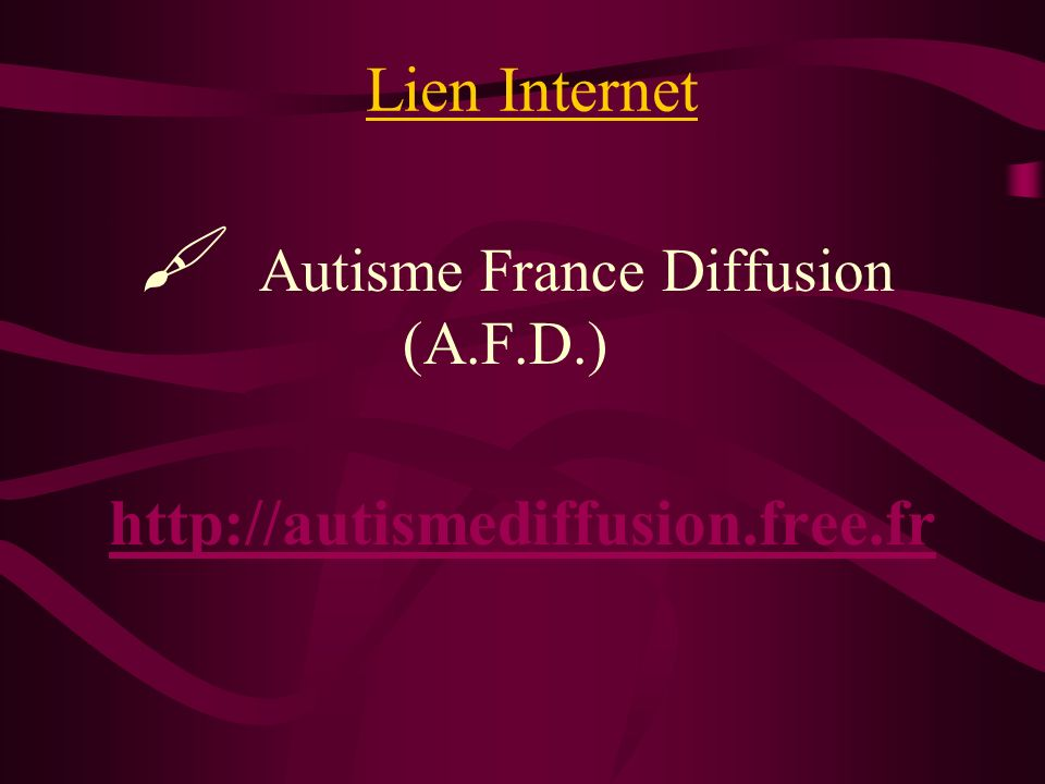 http://autismediffusion.free.fr Lien Internet