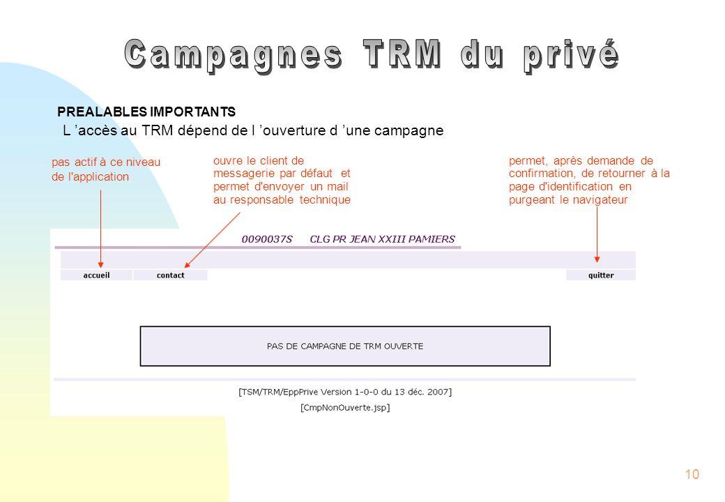 Campagnes TRM du privé PREALABLES IMPORTANTS. L 'accès au TRM dépend de l 'ouverture d 'une campagne.