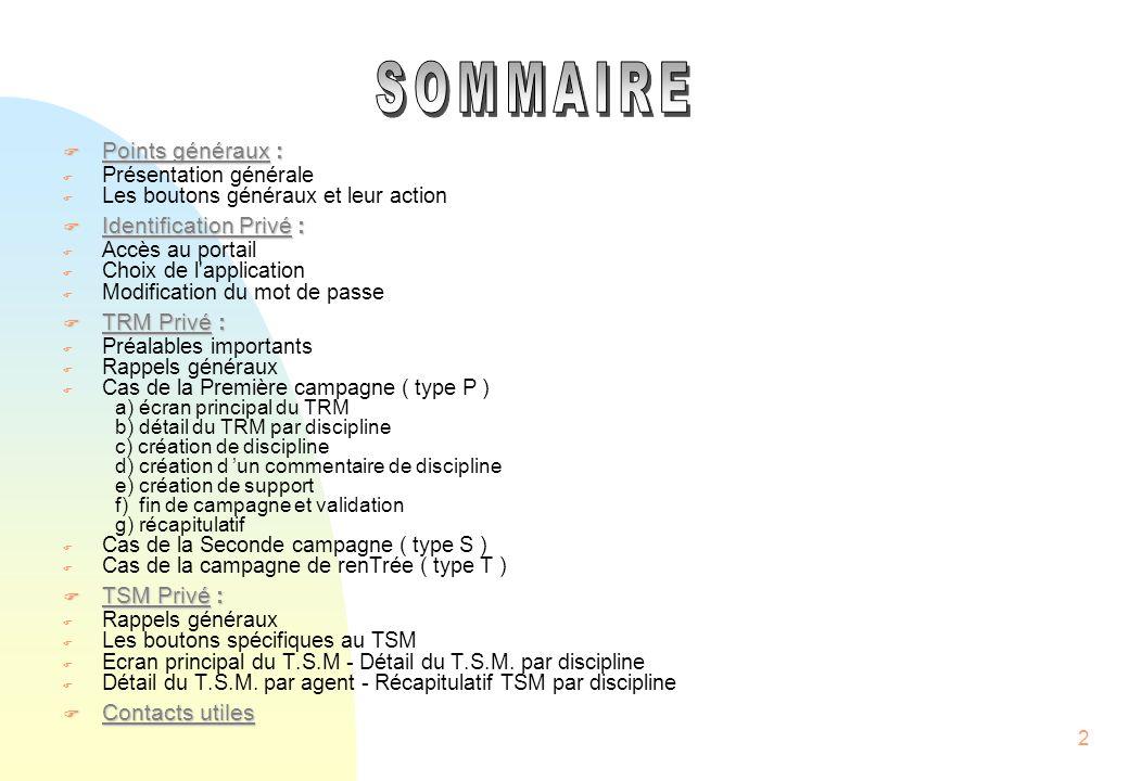 SOMMAIRE Points généraux : Identification Privé : TRM Privé :