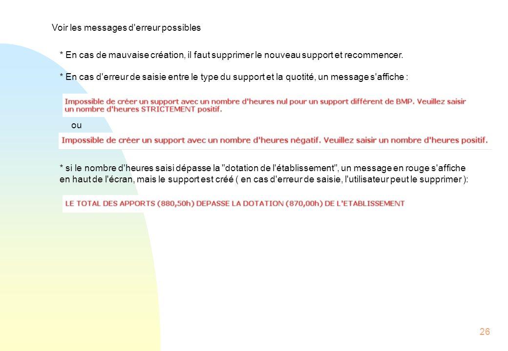 Voir les messages d erreur possibles