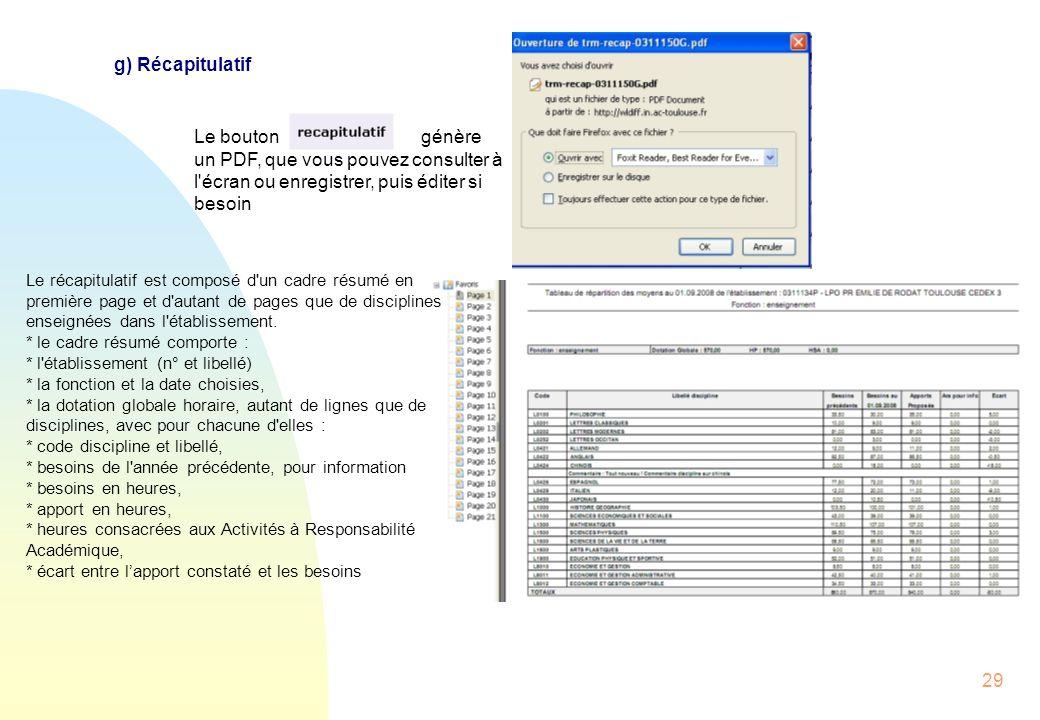 g) Récapitulatif Le bouton génère un PDF, que vous pouvez consulter à l écran ou enregistrer, puis éditer si besoin.