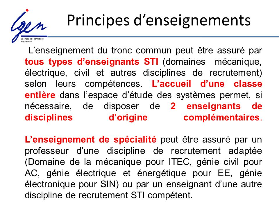 Principes d'enseignements