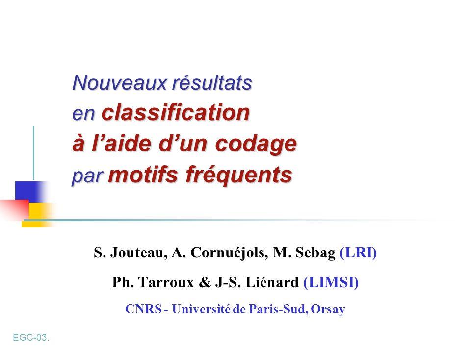 Nouveaux résultats en classification à l'aide d'un codage par motifs fréquents