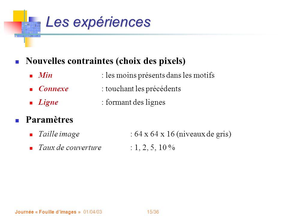 Les expériences Nouvelles contraintes (choix des pixels) Paramètres