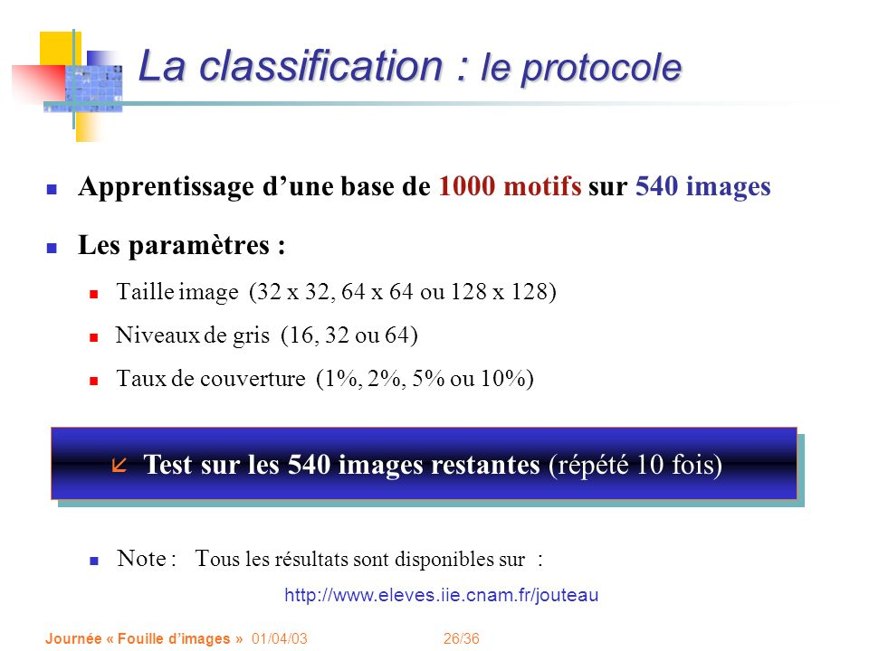 La classification : le protocole