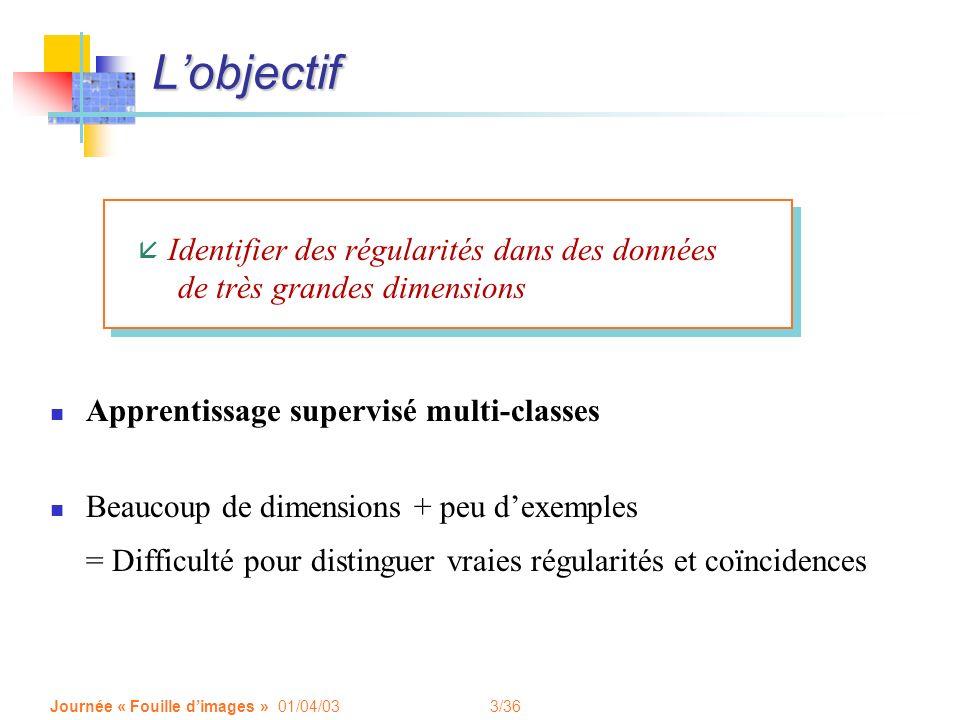 L'objectif Identifier des régularités dans des données de très grandes dimensions. Apprentissage supervisé multi-classes.