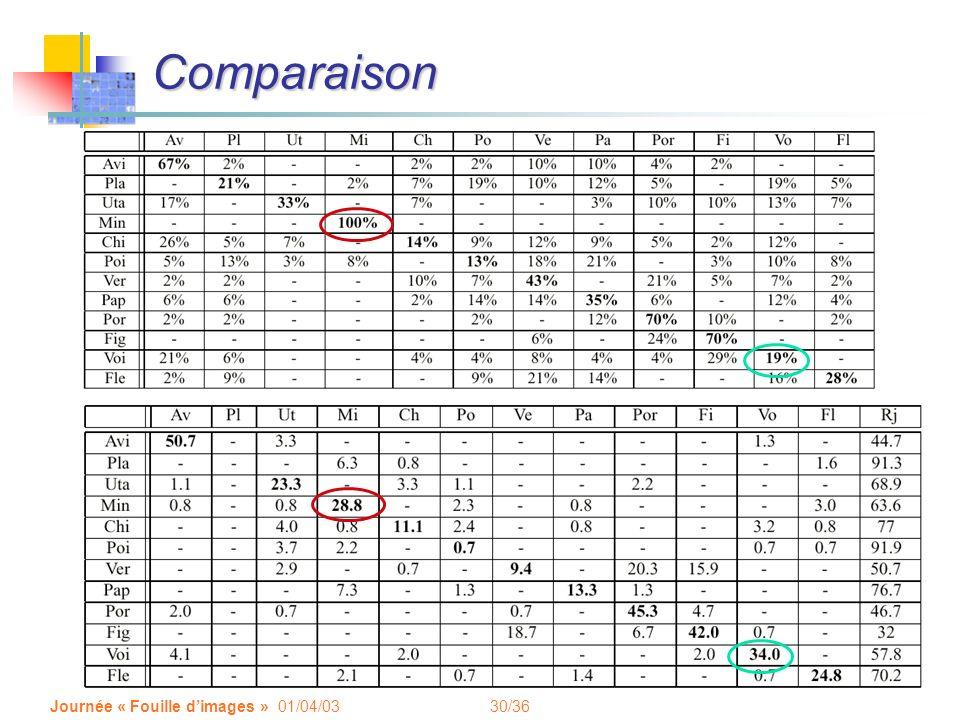 Comparaison Journée « Fouille d'images » 01/04/03