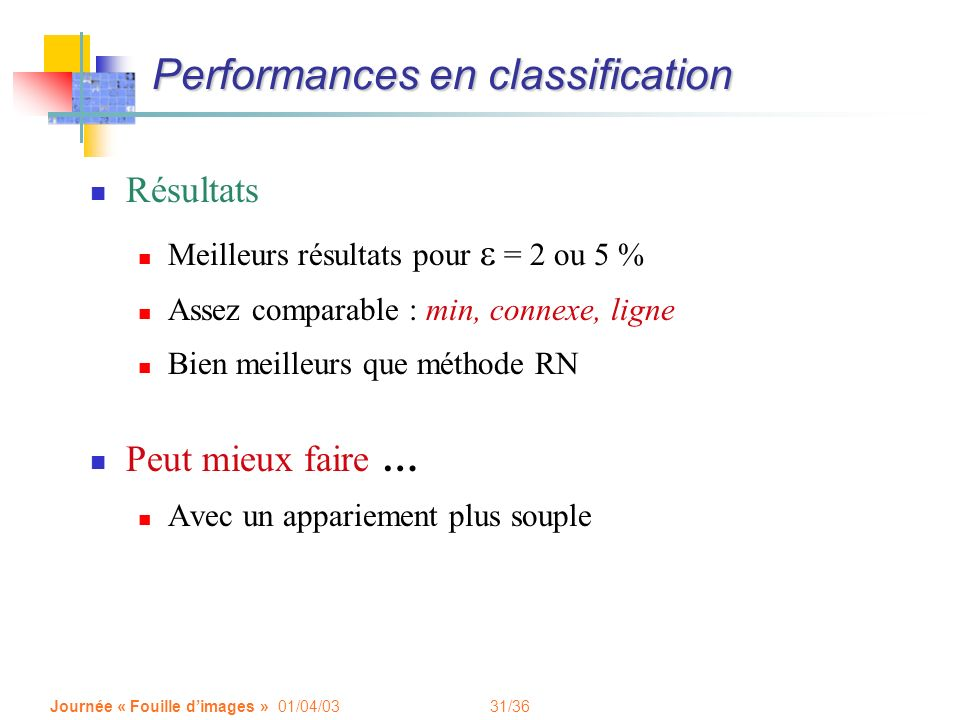 Performances en classification