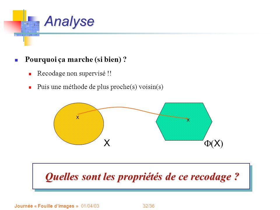 Analyse Quelles sont les propriétés de ce recodage X F(X)