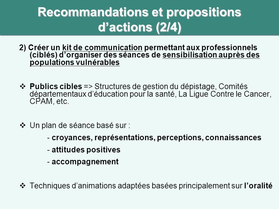 Recommandations et propositions d'actions (2/4)