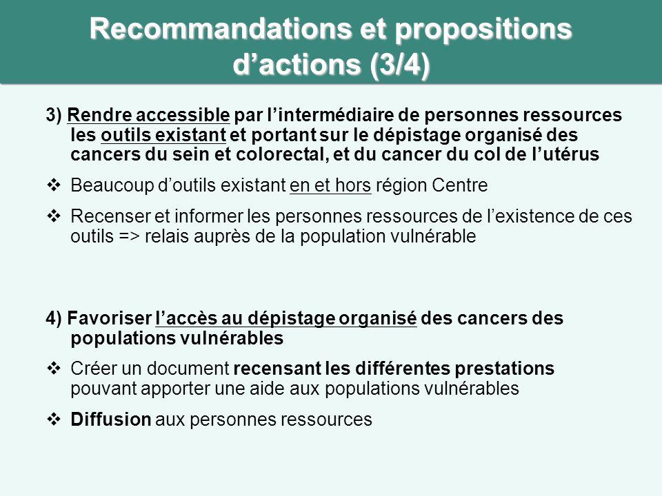 Recommandations et propositions d'actions (3/4)
