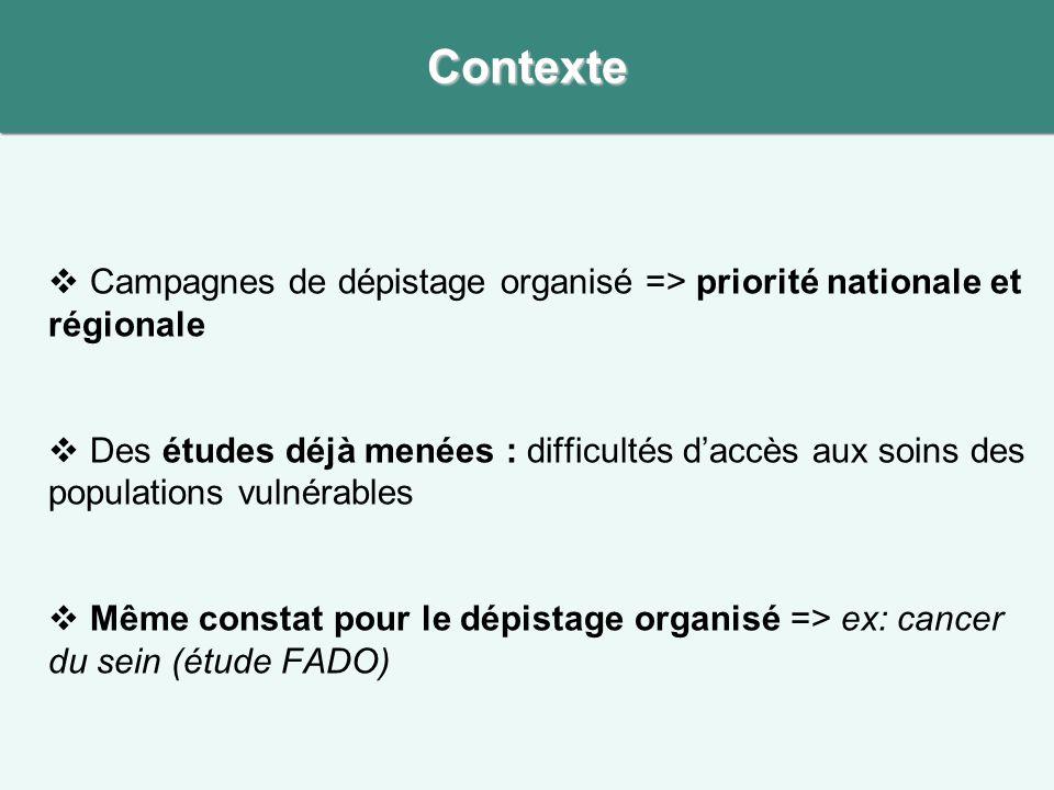 Contexte Campagnes de dépistage organisé => priorité nationale et régionale.