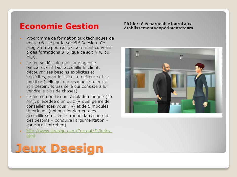 Jeux Daesign Economie Gestion
