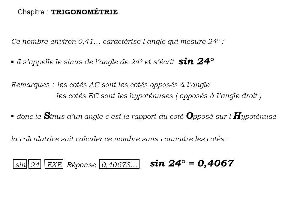 sin 24° = 0,4067 Chapitre : TRIGONOMÉTRIE