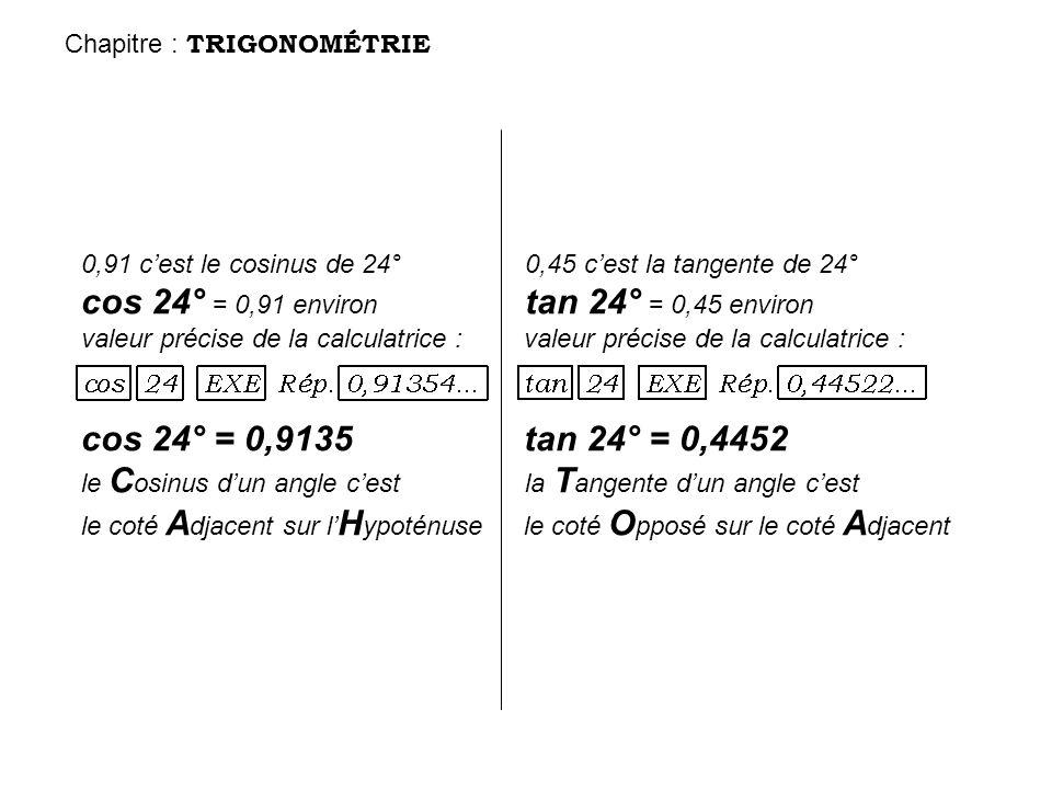 cos 24° = 0,91 environ tan 24° = 0,45 environ