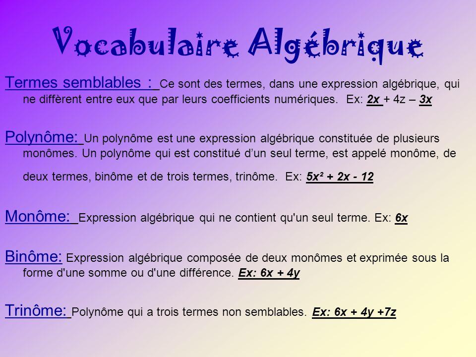 Vocabulaire Algébrique