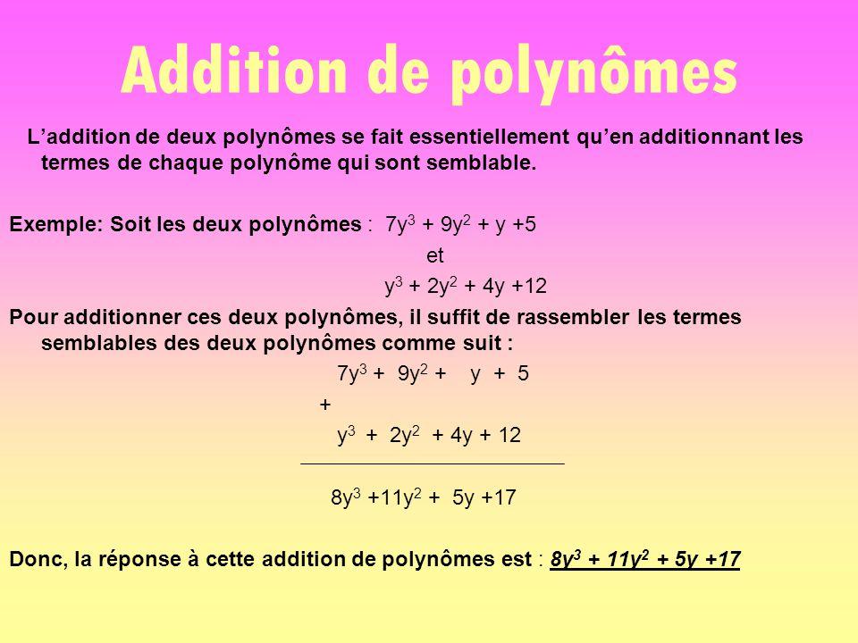 Addition de polynômes L'addition de deux polynômes se fait essentiellement qu'en additionnant les termes de chaque polynôme qui sont semblable.