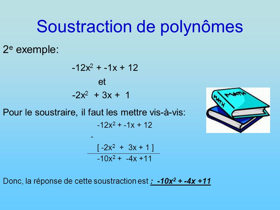 Soustraction de polynômes