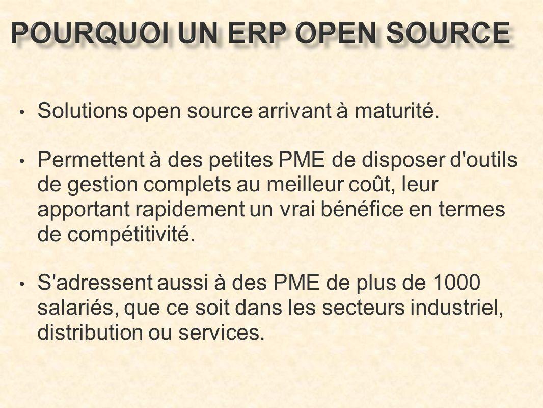 Solutions open source arrivant à maturité.