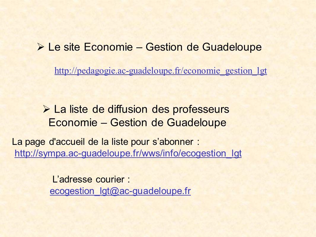  Le site Economie – Gestion de Guadeloupe
