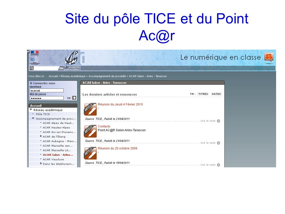 Site du pôle TICE et du Point