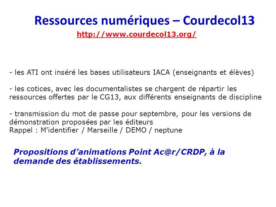 Ressources numériques – Courdecol13