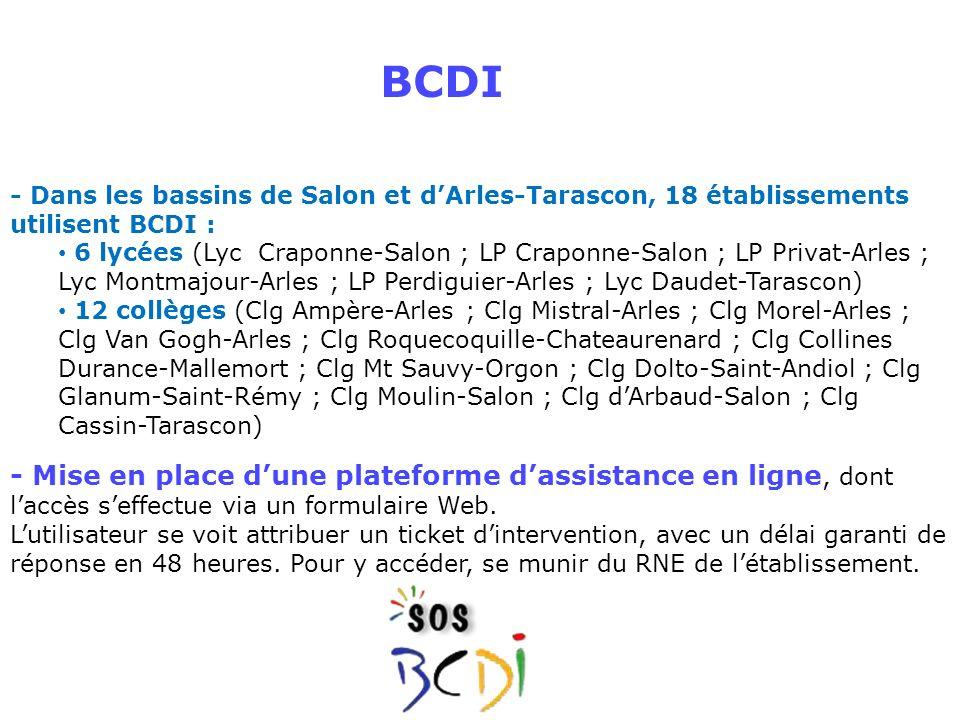 BCDI - Dans les bassins de Salon et d'Arles-Tarascon, 18 établissements utilisent BCDI :