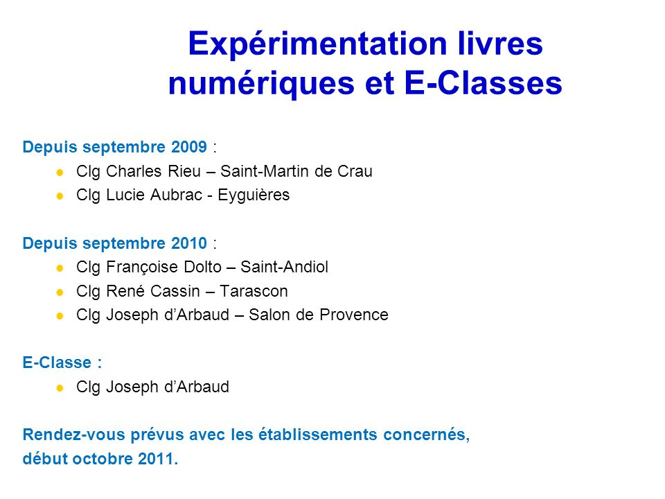 Expérimentation livres numériques et E-Classes