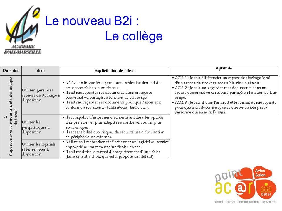 Le nouveau B2i : Le collège