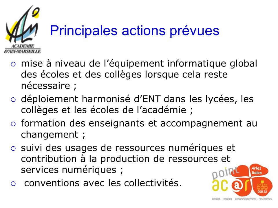 Principales actions prévues