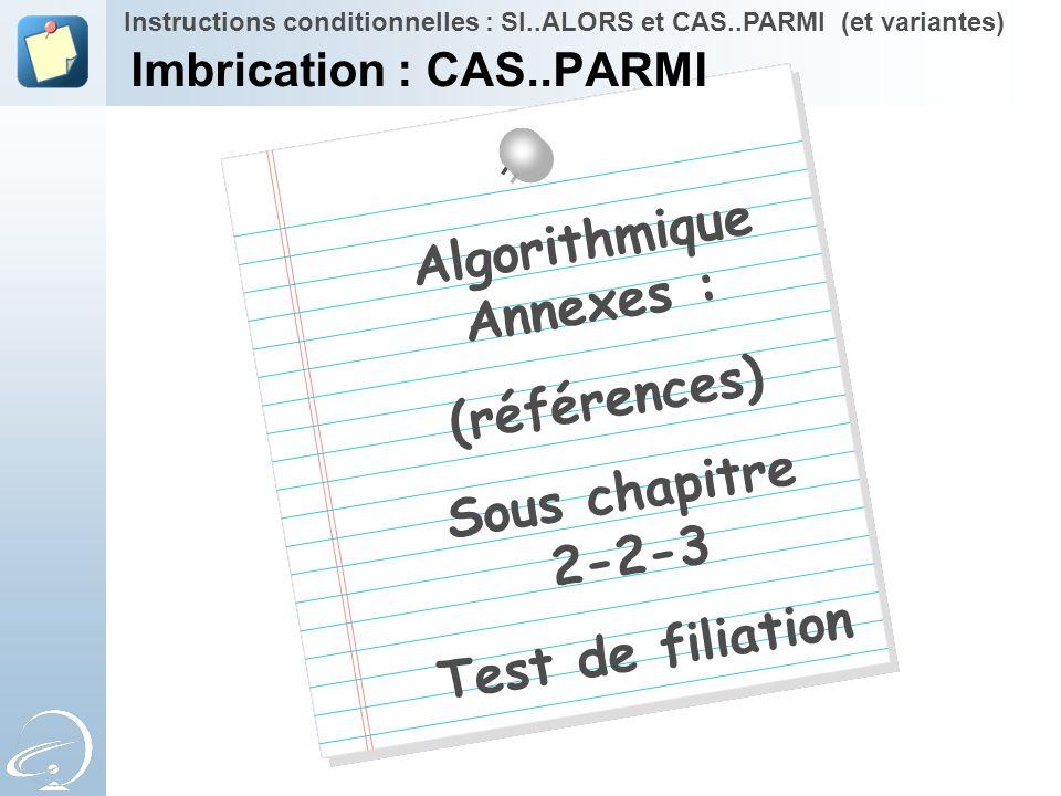 Imbrication : CAS..PARMI