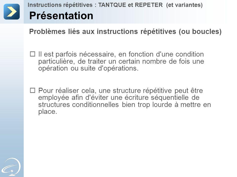 Présentation Problèmes liés aux instructions répétitives (ou boucles)