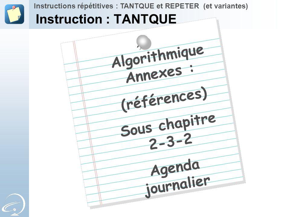 Algorithmique Annexes :