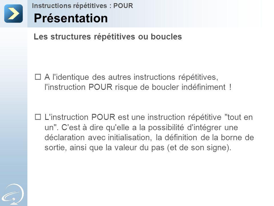 Présentation Les structures répétitives ou boucles