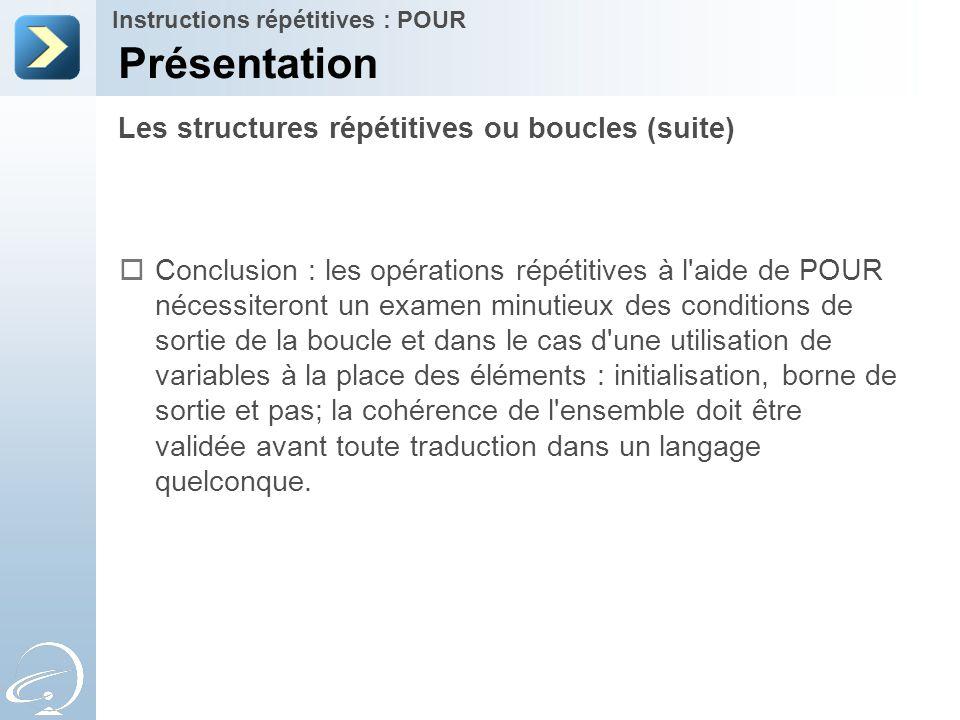 Présentation Les structures répétitives ou boucles (suite)
