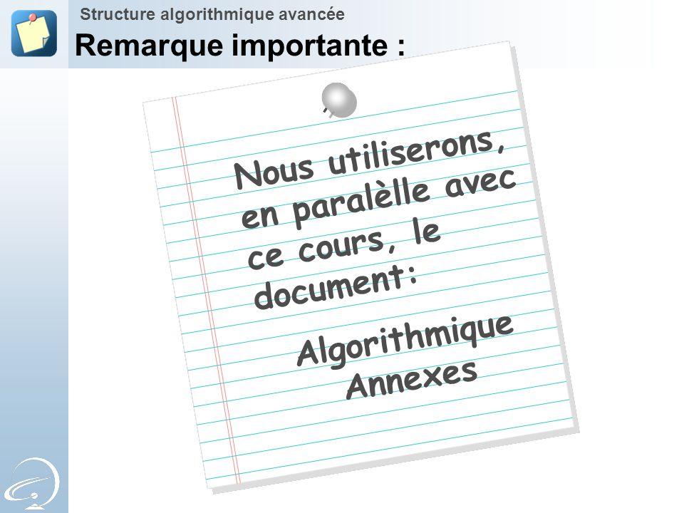 Algorithmique Annexes