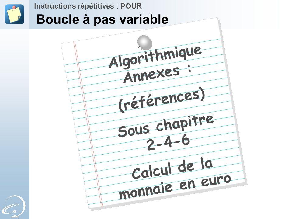 Algorithmique Annexes : Calcul de la monnaie en euro